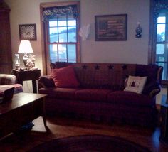 Americana sofa and wall (one of three sofa's in our large living room)  Lots of room for everyone to sit  :)
