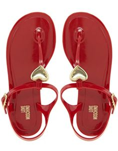 // Enlarge Love Moschino Jelly Heart Flat Sandals