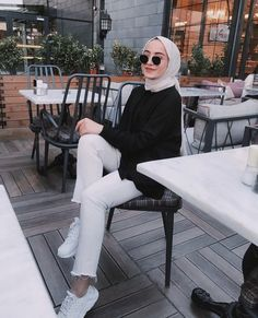 Image may contain: one or more people, people sitting, table, shoes, outdoor and indoor – Hijab Fashion Modest Fashion Hijab, Stylish Hijab, Modern Hijab Fashion, Street Hijab Fashion, Casual Hijab Outfit, Hijab Fashion Inspiration, Muslim Fashion, Fashion Outfits, Modest Dresses
