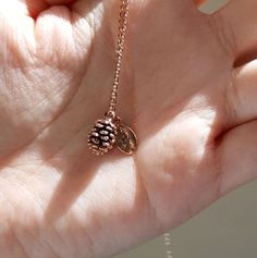 Rose Gold Pine cone Necklace with Initial Leaf by mintand on Etsy