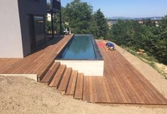Ipe wooden terrace and swimming pool surround with staircase - As Menuiserie - Terrasse ideen, Ipe wooden deck and pool surround with As Menuiserie staircase Ipe wooden deck and pool surround with As Menuiserie staircase The post Ipe wooden deck. Small Backyard Pools, Backyard Pool Designs, Swimming Pools Backyard, Swimming Pool Designs, Backyard Landscaping, Infinity Pool Backyard, Pool Spa, Above Ground Pool, In Ground Pools