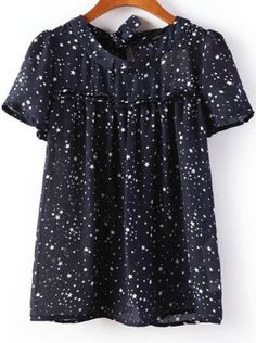 Navy Short Sleeve Stars Print Loose Blouse pictures