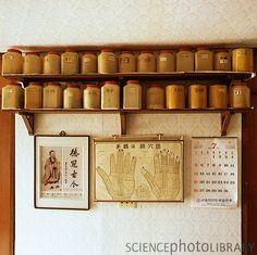 Chinese herbal medicine jars in a pharmacy