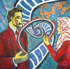 """Krzysztof Skarbek - """"Wirtualna rozmowa"""" 1996, akryl, na płótnie,  wymiary 150 x 150 cm"""