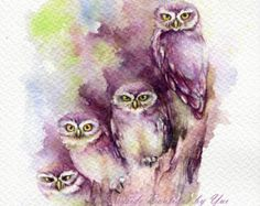 Drucken Sie Fantasy Owl Aquarellzeichnung 75 x von WaysideBoutique