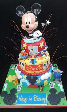 3 tier Mickey Mouse cake for a 1st Birthday