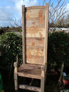 artofoak — my first oak carved tall chair for tall stories !