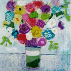 """Striped Vase"" 36x36 mixed media Shain Gallery sold"