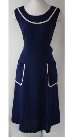 Nautical Style 1950s Navy Sun Dress. Simple and perfect.