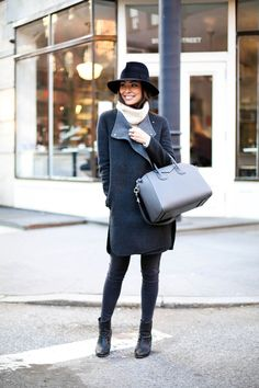 Grey wrap coat | Felt Hat | Givenchy bag | Kattanita.