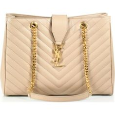 SAINT LAURENT Nude leather shoulder tote bag found at Nudevotion.com