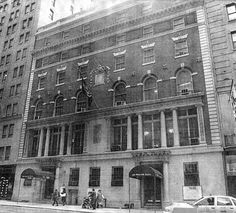 """The expanded Street Clubhouse as it looked in the This building has been gutted and remodeled into the Chatwal Hotel,. and they feature a bar & restaurnt called """"The Lambs Club"""" - not related in any way to The Lambs. Clubhouses, Lambs, Past, Blues, That Look, Nyc, Street, Building, Past Tense"""