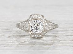 One Carat Art Deco Engagement Ring