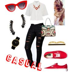 casual by q-griffin on Polyvore featuring polyvore fashion style T By Alexander Wang Boohoo Vans Valentino Larsson & Jennings Eddie Borgo Jules Smith