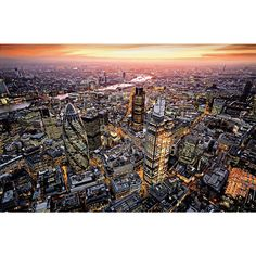 Brewster Home Fashions: London Aerial View Wall Mural Mural Wall Art, Aerial View, San Francisco Skyline, Airplane View, City Photo, To Go, House Design, London, Explore