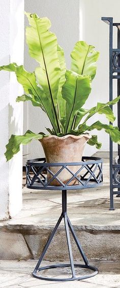 Classic styling and a graphic X and O pattern make up this timeless planter that is raised on a metal framed base. Use as a centerpiece and line with coconut coir for a full look, or simply fill with a potted plant.