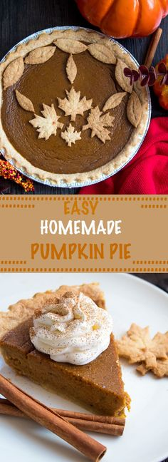 This Easy Homemade Pumpkin Pie is the perfect dessert for Thanksgiving. You'll only need a few simple ingredients to create a rich and delicious pie that'll surely wow all your guests! Fall Dessert Recipes, Thanksgiving Desserts, Fall Desserts, Holiday Recipes, Delicious Desserts, Holiday Foods, Thanksgiving Ideas, Dessert Ideas, Fall Recipes
