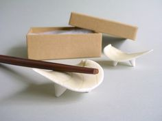 Porcelain Chopstick Rests, Green Leaf, Handmade Japanese inspired – Set of Two (2) - pinned by pin4etsy.com