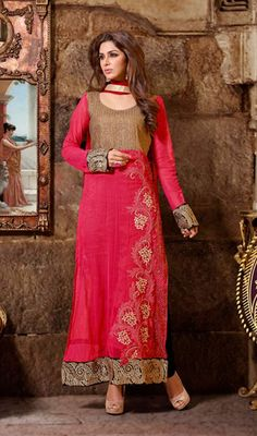 Pakistani Style Fuchsia Net Salwar Kameez Price: Usa Dollar $118, British UK Pound £69, Euro87, Canada CA$126 , Indian Rs6372.
