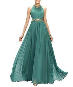 22f375a79f Ellames Beaded Long Chiffon Bridesmaid Dress Jewel Prom Evening Dress  Purple US 12