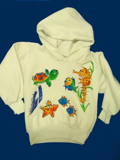 Seahorse Handpainted Hooded Sweatshirt by DeborahWillardDesign, $32.00