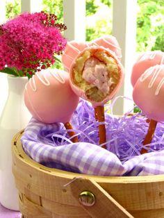 Strawberry Cheesecake Stuffed Amaretto Cake Pops (on Pretzel Sticks!) - Willow Bird Baking