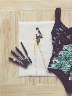 Fashion illustration Airavata Swimwear sequins hand Made embroidery resort luxury brand one piece