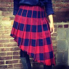 Slantsational! 100% wool skirt with ric-rac striping and frayed hem. Ellipse original. Size 4, $160