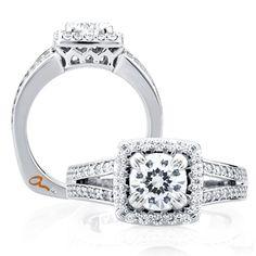 A. Jaffe Diamond Semi-Mount Ring 18K #Engagement #Ring #Halo