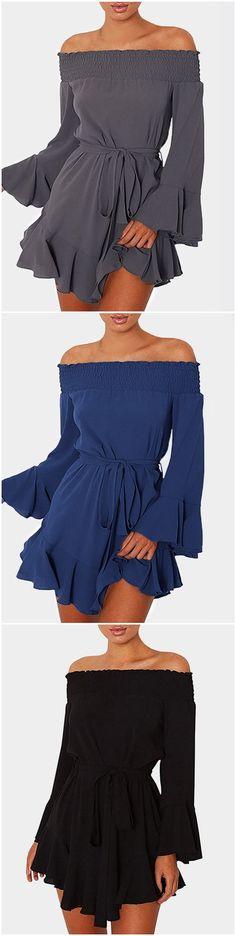 Ruffle Design Off Shoulder Bell Shoulder Mini Dresses with Belt