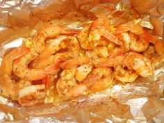 Steamed Shrimp in a foil pouch ON THE GRILL: Shrimp, Old Bay to your liking, couple pats of butter and a splash of lemon juice. Seal foil pouch & grill for about 8-10min depending on the size of shrimp