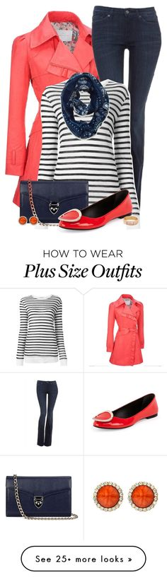 """""""Navy + Coral for Fall"""" by jafashions on Polyvore featuring Jessica Simpson, 7 For All Mankind, Alexander Wang, Aspinal of London, Roger Vivier, Peach Couture, Amrita Singh, Kara by Kara Ross and plus size clothing"""