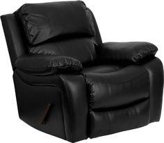 Flash Furniture MEN-DA3439-91-BK-GG Black Leather Rocker Recliner - http://www.furniturendecor.com/flash-furniture-men-da3439-91-bk-gg-black-leather-rocker-recliner/