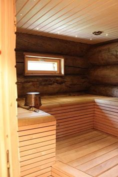 Sauna with a window - like it.