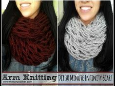 Finger Knit Infinity Scarves