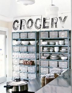 """could do without the """"grocery"""" but like the galvanized and pale blue and repetitive patterns. proper kitchen cabinets can be so bleh"""
