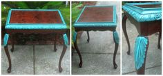 Hand painted Bombay Company side table with turquoise details and black glaze distressing. Sealed with poly for protection. The table is made by The Bombay Company.  Measurements - 23 inches long x 17 wide x 23 inches tall.
