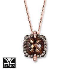 LeVian Quartz Necklace 1/3 ct tw Diamonds 14K Strawberry Gold