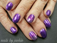 Young nails gel  Purple glitter with faded accent nail Nails by jackie