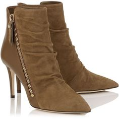 Khaki Brown Suede and Calf Ankle Booties (700 CAD) ❤ liked on Polyvore featuring shoes, boots, ankle booties, suede leather boots, brown suede boots, brown booties, khaki boots and brown suede booties