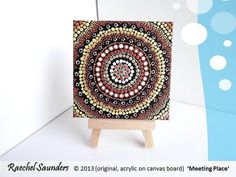 "Aboriginal Art, Meeting Place, Acrylic Painting on small canvas board, earth colours 4"" x 4"". $20,00, via Etsy."