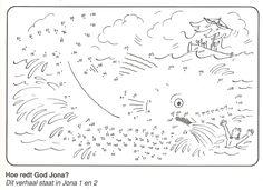 Jona 1 en 2: Hoe redt God Jona? van stip naar stip School Coloring Pages, Bible Coloring Pages, Sunday School Projects, Sunday School Lessons, Bible School Crafts, Bible Crafts, Church Activities, Bible Activities, Jonah And The Whale