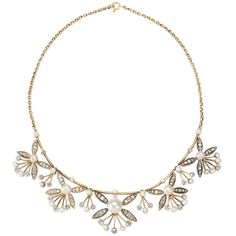"""An Edwardian 15 karat gold and pearl necklace, featuring 5 organically stylized """"blooms"""" of finely sculpted gold, inset with 25 natural pearls and old mine-cut diamonds with an approx total weight of 3.65 carats. Circa 1910."""