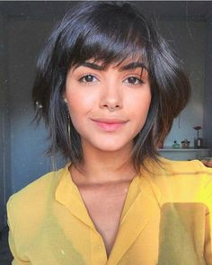 Ten Trendy Short Bob Haircuts for Female, Best Short Hair Styles 2019 - Hair - Frisuren Bob Haircut With Bangs, Short Hair With Bangs, Short Hair Cuts, Haircut Short, Haircut Medium, Short Pixie, Short Bob Bangs, Pixie Cuts, Short Bob With Fringe