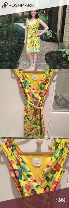 """Yellow floral silk dress Purchased off poshmark & worn once. It's a bit snug on me but I made it work for one event. Perfect condition! Size 00 waist measures 13"""" across. 100% silk fully lined wrap style dress with snaps at waist & a hook at chest to close. Got so many compliments on it! Must be smaller then a 32/34D since the bust does not stretch. I purchased a VS yellow bandeau to go with it but wore a pale pink instead. I'll throw the bra if interested since the dress is a bit low, just…"""