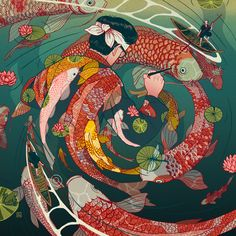 Tale: A Personal Illustration Project by Nicolás Castell Nicolás Castell is an illustrator based in Granada. His personal project called…Nicolás Castell is an illustrator based in Granada. His personal project called… Illustration Design Graphique, Illustration Art, Carpe Koi, Fish Art, Illustrations And Posters, Aesthetic Art, Chinese Art, Asian Art, Art Inspo