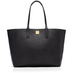 Mcm Tote - Medium Project Leather Reversible Shopper (8 255 SEK) ❤ liked on Polyvore featuring bags, handbags, tote bags, black, leather purse, black tote, shopping tote, black leather shopper and leather handbags