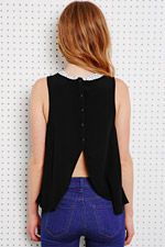 Cooperative Laser-Cut Collar Top in Black - Urban Outfitters
