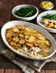 Salmon, spinach and crème fraîche bake - Sainsburys Magazine cooking recipes Salmon Recipes, Veggie Recipes, Fish Recipes, Seafood Recipes, Vegetarian Recipes, Cooking Recipes, Healthy Recipes, Recipies, Indian Recipes