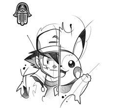 Ash Ketchum & Pikachu – Tattoo Design, Pokemon Ash Ketchum & Pikachu – Tattoo Design, Pokemon The post Ash Ketchum & Pikachu – Tattoo Design, Pokemon appeared first on Poke Ball. Art Drawings Sketches, Disney Drawings, Cartoon Drawings, Animal Drawings, Cool Drawings, Pokemon Tattoo, Naruto Tattoo, Cartoon Tattoos, Anime Tattoos